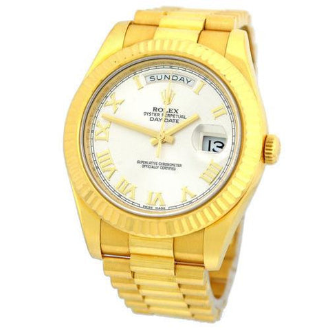 Rolex Pre-owned Watch 41mm / Silver 218238 ♛ Rolex ♛ Day Date II President 18K Yellow Gold 41mm Silver Roman Numerals Dial