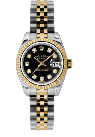 Rolex Rolex Watch 26mm / Black 179173 ♛ Rolex ♛ Rolex Ladies Datejust  Gold & Stainless Steel Black Set w/ Diamonds