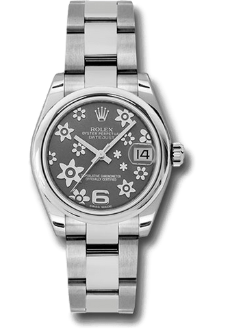 Rolex Rolex Watch 31mm / Rhodium 178240 ♛ Rolex ♛ Datejust 31 mm Stainless Steel Dark Rhodium Floral Oyster