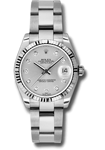 Rolex Rolex Watch 31mm / Silver 178274 ♛ Rolex ♛ Lady Datejust 31mm White Gold Silver Dial Diamond Hour Oyster Bracelet.