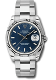 Rolex Rolex Watch 34mm / Blue 115234 ♛ Rolex ♛ Oyster Perpetual Date Blue Dial Fluted 18kt White Gold Bezel