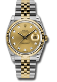 Rolex Rolex Watch 36mm / Champagne 116233 ♛ Rolex ♛ Oyster Datejust 36 Champagne Dial Diamond Hour Steel and 18k Gold