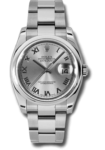 Rolex Rolex Watch 36mm / Silver 116200 ♛ Rolex ♛ SS Datejust 36 Roman Numeral Silver Dial Oyster 36 mm