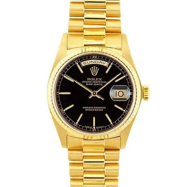 Rolex Watch 22mm / Black / 18k Gold Pre-owned Rolex 18k Gold President Men's Black Dial Watch