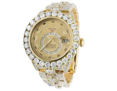 Rolex Watch 42mm / Champagne 326938 ♛ Rolex ♛ Sky-Dweller 18k Yellow Gold 39.7 Carats VS Diamond 42mm