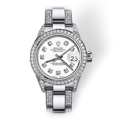 Rolex Watches 31mm / White Ladies ♛ Rolex ♛ Oyster Perpetual Datejust Steel White Diamonds Dial
