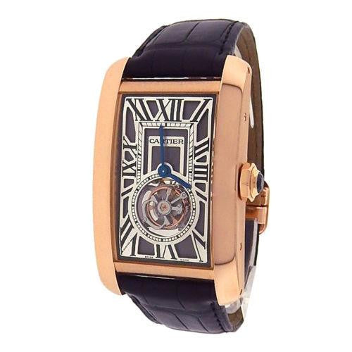 Cartier Tank Americaine Flying Tourbillon W2620008 18k Rose Gold Brown Leather 36mm