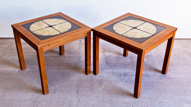 Moluna Mobler Tile Inlay Side Tables (Pair) -  Former Modern