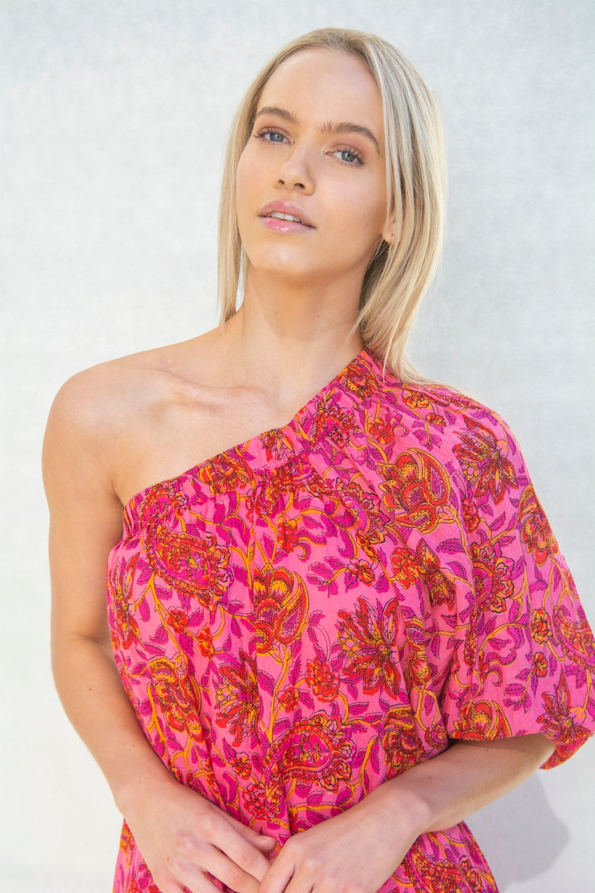 RIVIERA PAISLEY ONE SHOULDER TOP
