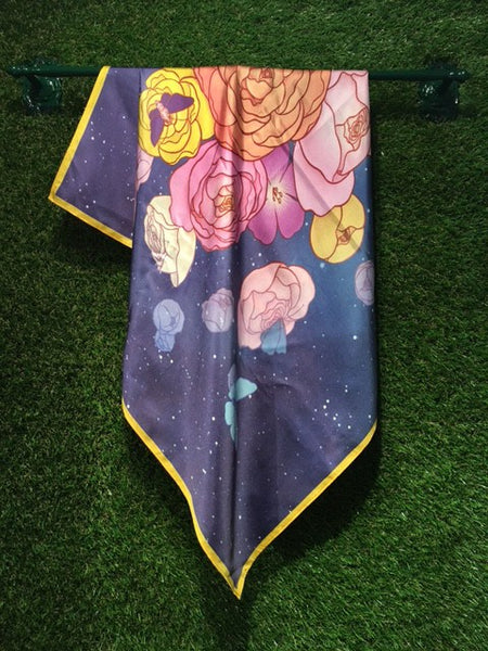 Cosmic Garden Silk Scarf Illustrated Square