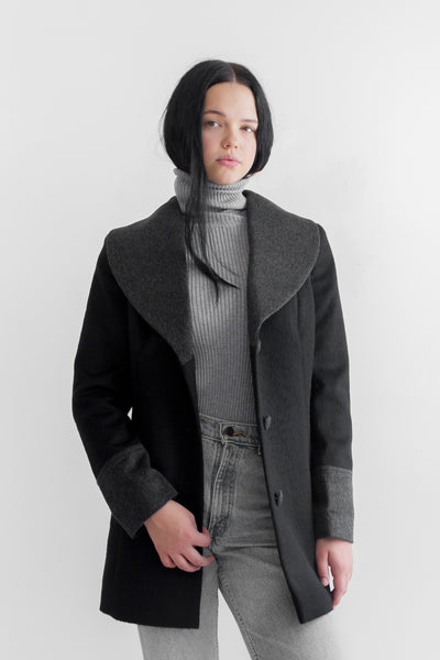 RUMI Alpaca Wool Coat- Black/Charcoal