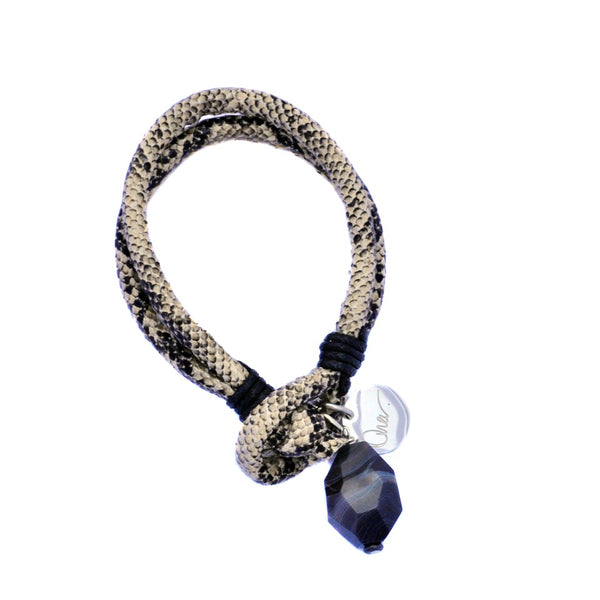 Snake Print Bracelet with Striped Agate