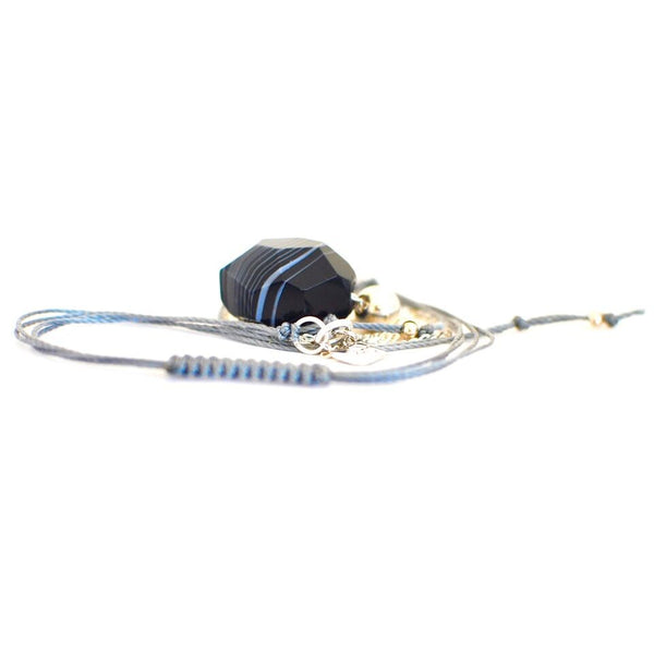 Adjustable Black & White Striped Agate Necklace With Bead