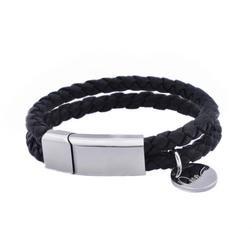 Unisex Leather Braided Bracelet with Steel Clasp and Charm