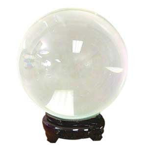 95 mm Clear Colored Quartz Crystal Ball with Wooden Stand