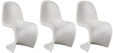 'S' Panton Style Sleek Fluid Curves Small White Chair (3)