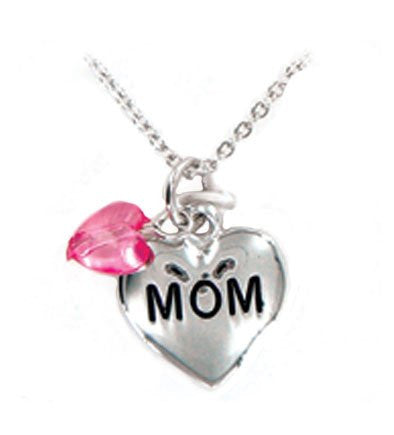 """mom"" Mother's Day Silver Toned Heart Shaped Pendant Necklace"