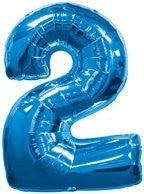 (1) Number Two #2 2nd BLUE Boy Birthday Party Figure Mylar Balloon JUMBO 34 by Lgp