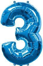 "(1) Number Three #3 3rd BLUE Boy Birthday Party Figure Mylar Balloon JUMBO 34"" by Lgp"