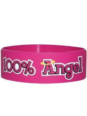 100% Angel Pink Rubber Wristband