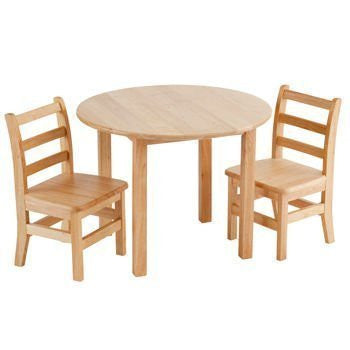 ECR4Kids Hard Wood Round Table and Chairs for Two