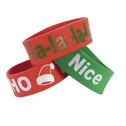 12 pack - DELUXE CHRISTMAS HOLIDAY BIG BAND BRACELETS WITH HOLIDAY CHRISTMAS THEME SAYINGS