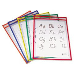 * Reusable Dry Erase Pockets, 9 x 12, Assorted Primary Colors, 25/Box