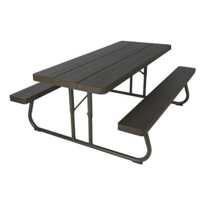 Wood Grain Folding Picnic Patio Furniture Table