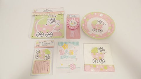 """Its A Girl"" Theme Girl Baby Shower 9 Piece Party Kit Bundle Decorations w/ Plates, Napkins, Invitations, Letter Banner, Party Games and Award Ribbons"