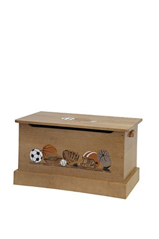 "Amish-Made, Handcrafted Children's Wooden 30"" Toy Box - Small (Harvest With Sports Scene Finish)"