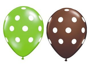 (6) Green and Chocolate Polka Dot Balloons