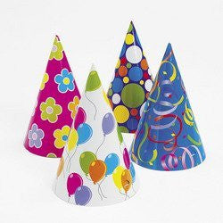 "12 ~ Cardboard Party Hats ~ Assorted ~ Approx. 6.5"" Tall ~ Includes Elastic Band ~ New ~ Birthday, New Year's Eve"