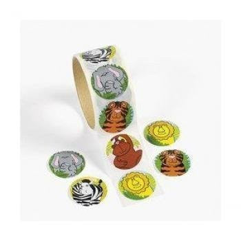 100 Zoo Animal Stickers, 1 Roll Children, Kids, Game