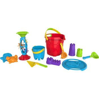 14 Piece Bucket Playset- Sand and Water Fun- Parts and Colors May Vary by Made For Fun