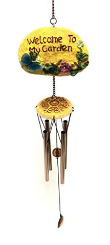 """Welcome My Garden"" Beautiful Sound Butterfly-Resin Rockw W/Chime"