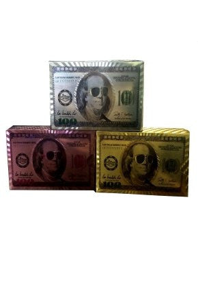 $100 BILL PLAYING CARDS, 3 DECK SET IN SHINY GOLD, SILVER & PINK