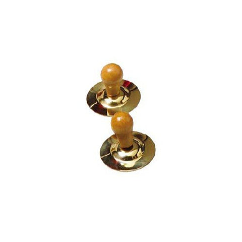 1 Pair of Brass Finger Cymbals with Wooden Handles