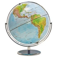 * Physical and Political 12-Inch Globe, Silver Metal Desktop Base