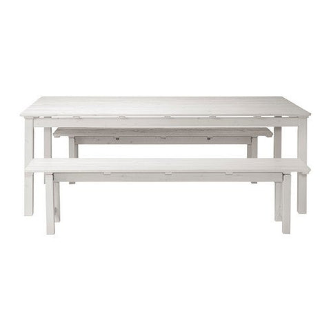 Ikea Table+2 benches, outdoor, white stained white 162020.82914.106