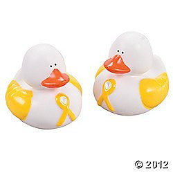 1 Yellow Awareness Ribbon Rubber Duck