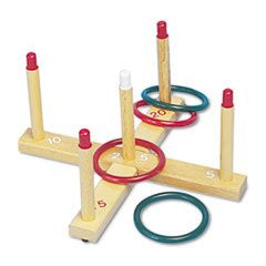 ** Ring Toss Set, Plastic/Wood, Assorted Colors, 4 Rings/5 Pegs/Set **