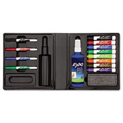 ** Dry Erase Marker/Eraser/Cleaner, Chisel/Fine, Assorted, 12/Set **