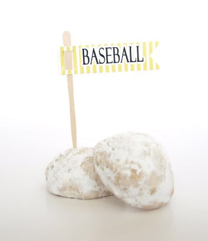 """Baseball"" Cake Picks / Cupcake Toppers, Yellow (Set of 12) - Hit a Homerun with Sports Baseball Toppers"