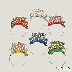 """Happy New Year"" Bright Tiaras/New Years Party Supplies-Pkg. of 12"