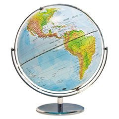 * 12-Inch Globe with Blue Oceans, Silver-Toned Metal Desktop Base,Full-Meridian