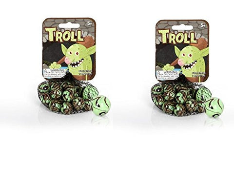 2pk Mega Marbles - TROLL MARBLES NET (1 Shooter Marble & 24 Player Marbles)
