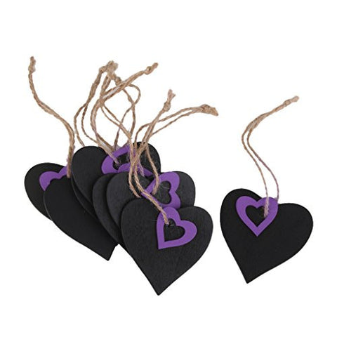10pcs Mini Purple Heart Chalkboard Tags with String