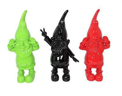 1pce 30cm Gloss Resin Funky Gnome in Retro Happy Poses - Green