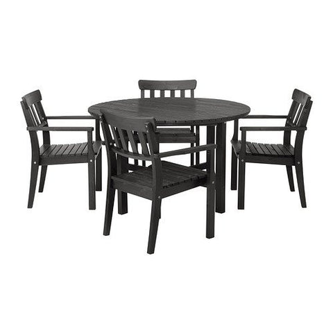 Ikea Table and 4 armchairs, outdoor, black-brown black stained black-brown stained 102020.82914.1030