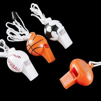 12 Sport Ball Whistle Necklaces -Sports Favors / Sports Toys Bulk